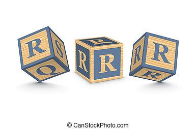 de madera, r, bloques, carta, vector