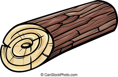 de madera, registro, o, tocón, caricatura,...