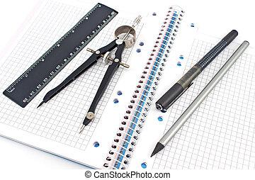 de madera, regla, Espiral, cuaderno, compás, pluma, dibujo, lápiz