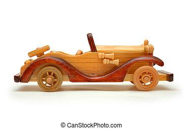de madera, retro, coche, aislado, blanco
