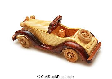 de madera, retro, coche, aislado, en, el, blanco