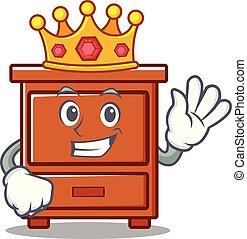 de madera, rey, cajón, caricatura, mascota