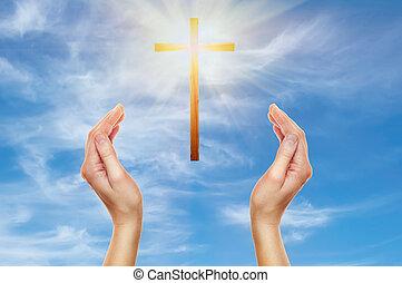 de madera, rezando, cruz, manos