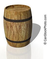 de madera, roble, barrel., 3d, render