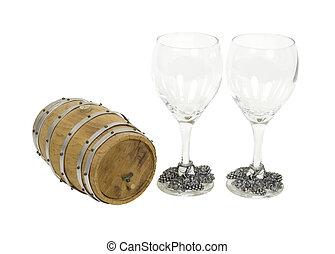 de madera, roble, barril, y, anteojos