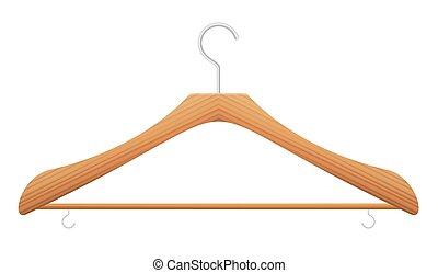 de madera, ropa, vacío, percha, coathanger, frontal, ...