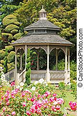 de madera, rosa, gazebo, jardín