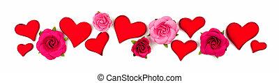 de madera, rosas, corazones, papel, aislado, blanco, día, ...