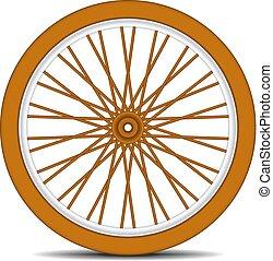 de madera, rueda de bicicleta, con, sombra