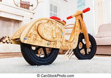 de madera, runbike, en, el, sala, en casa