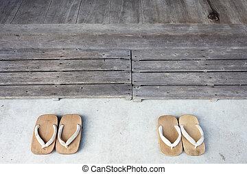 de madera, sandalias, japonés