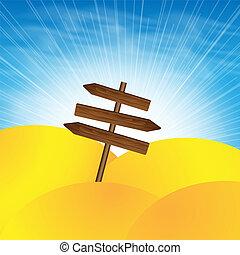 de madera, señal, en, el, desierto