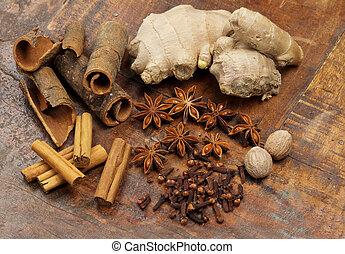 de madera, selección, plano de fondo, especias
