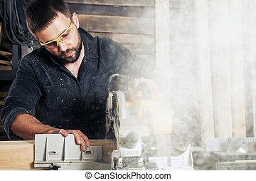 de madera, sierras, tabla, hombre