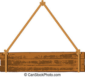 de madera, signboard, en, el, soga