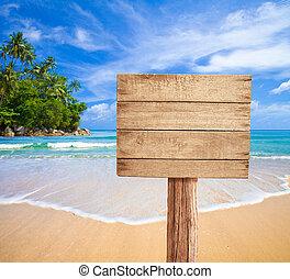 de madera, signboard, playa, tropical
