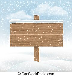 de madera, signboard, snowbank.