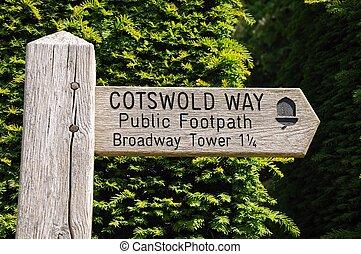 de madera, signo., cotswold, manera