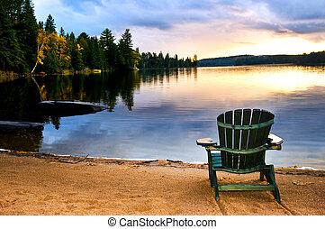 de madera, silla de la playa, ocaso