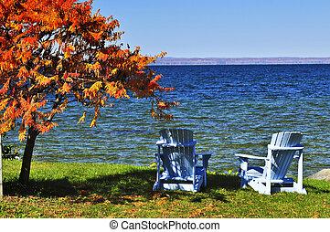 de madera, sillas, en, otoño, lago