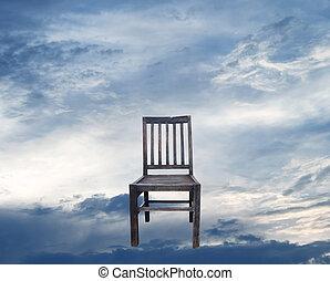 de madera, sillas, y, cielo