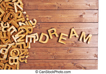 de madera, sueño, hecho, palabra, cartas