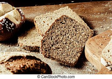 de madera, tabla pan, tipos, variado