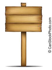 de madera, tabla signo, con, poste
