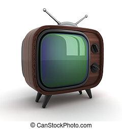 de madera, televisión, viejo