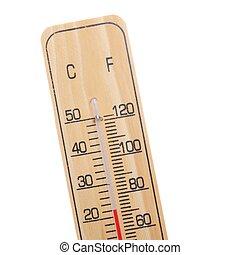 de madera, termómetro