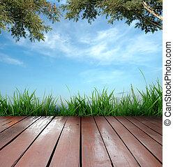 de madera, terraza