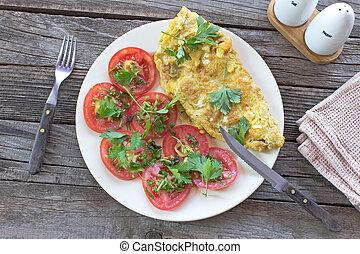 de madera, tortilla, vegetales, plano de fondo