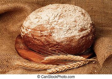 de madera, tradicional, tabla, recientemente, horneó pan