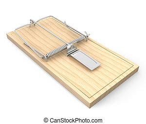 de madera, trampa del ratón