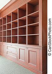 de madera, vacío, estantes