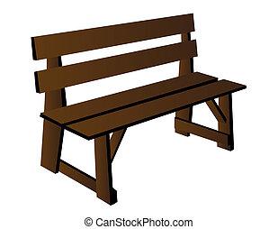 de madera, vector, banco