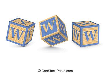de madera, vector, bloques, carta, w