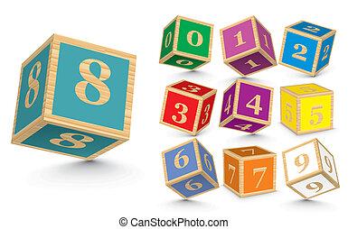 de madera, vector, bloques, número
