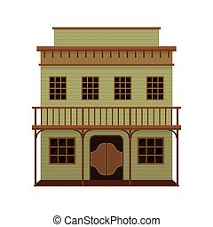 de madera, vector, doors., balanceo, house., viejo, ...