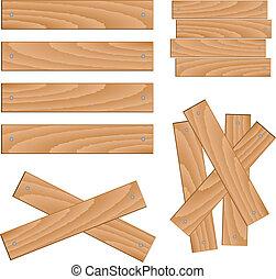 de madera, vector, elementos