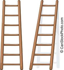 de madera, vector, ilustración, escalera, caricatura