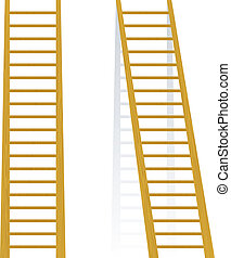 de madera, vector, ilustración, escalera
