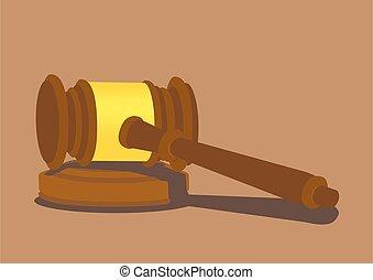 de madera, vector, ilustración, martillo, bloque