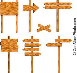 de madera, vector, señales