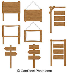 de madera, vector, tablas, señales