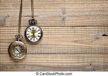 de madera, vendimia, bolsillo, plano de fondo, relojes