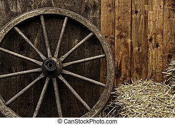 de madera, vendimia, carruaje, rueda