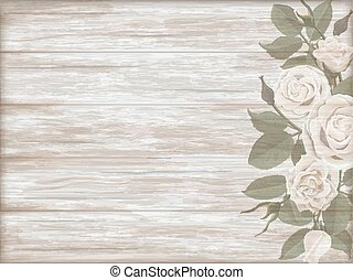 de madera, vendimia, plano de fondo, rosa, blanco, brote