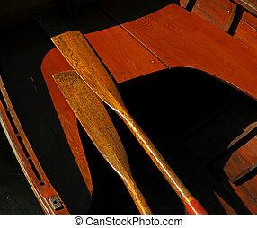 de madera, vendimia, remos, barco, sol
