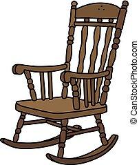 de madera, vendimia, silla, mecedor